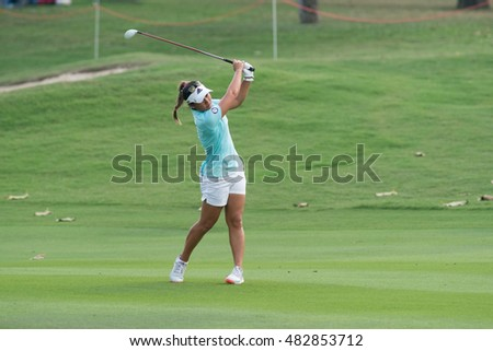PATTAYA, THAILAND-FEBRUARY 20: Danielle Kang of USA in action during Round 3 of Honda LPGA Thailand 2015 on February 20, 2015 at Siam Country Club Old Course in Pattaya, Thailand