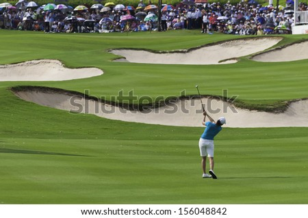 PATTAYA THAILAND-FEBRUARY 21-Lorena Ochoa of Mexico hits approach shot to green in Final Round of Honda LPGA Thailand 2010 on Feb 21, 2010 at Siam Country Club Old Course in Pattaya, Thailand - stock photo