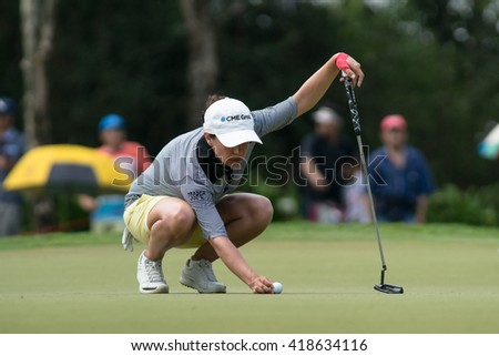 PATTAYA, THAILAND-FEBRUARY 20: Mo Martin of USA prepares for her next move during Round 3 of Honda LPGA Thailand 2015 on February 20, 2015 at Siam Country Club Old Course in Pattaya, Thailand