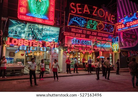 PATTAYA, THAILAND - FEBRUARY 26: Sea food restaurant at the famous walking street on Februaty 26, 2016 in Pattaya. Pattaya is the busiest tourist destination in Thailand.