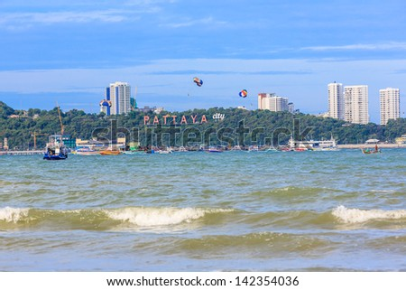 PATTAYA, THAILAND - MAY 25: Landscape of Pattay beach on May 25, 13, it is a city in Thailand, a beach resort popular with tourists and expatriates
