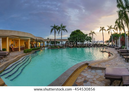PATTAYA, THAILAND - MAY 7: Swimming pool of Dusit Pattaya Hotel on May 7, 2016 in Pattaya, Thailand.