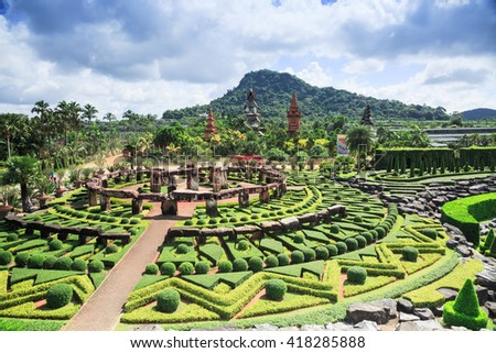 pattayathailand may 62016 the large stone garden and tropical garden - Tropical Garden 2016