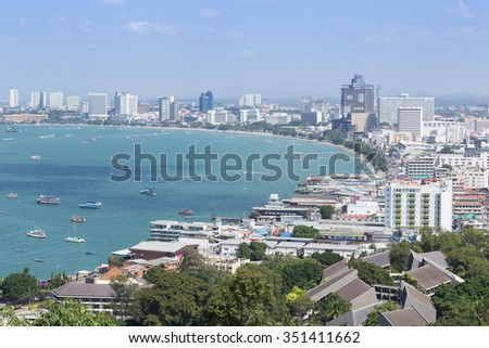PATTAYA, THAILAND - NOV 29 : The building and skyscrapers in day time on November 29, 2015 in Pattaya,Thailand.Pattaya city is famous about sea sport and night life entertainment. - stock photo