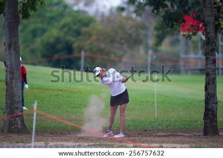 PATTAYA, THAILAND: Paula Creamer of USA  hits a shot during day one of the Honda LPGA Thailand 2015 at Siam Country Club, Pattaya on Feb 26,2015 in Thailand. - stock photo