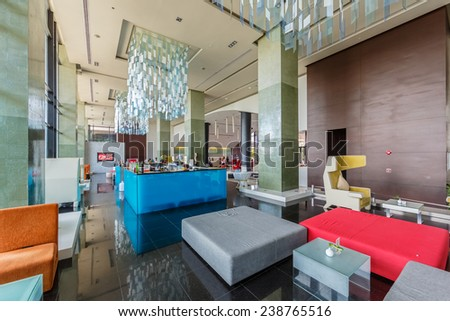 PATTAYA, THAILAND - SEP 21: Lobby of The Zign Hotel on Sep 21, 2014 in Pattaya. It is luxury hotel in Naklua, Pattay, the interior design is back into the 1950s and 1960s. - stock photo