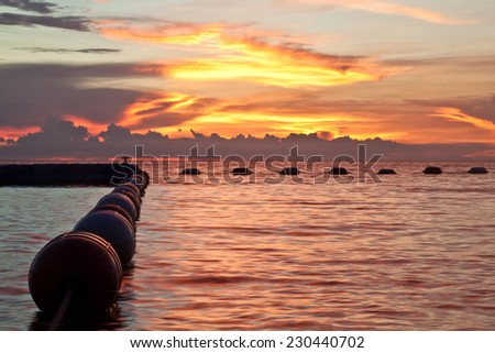 Pattaya, Thailand, Wongamat beach on sunset - stock photo