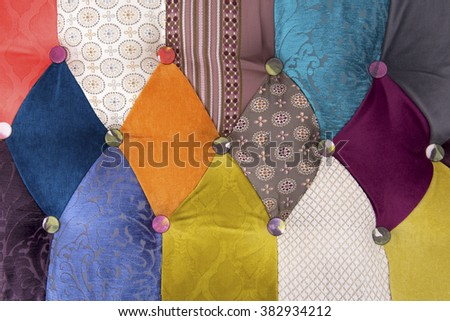 Pattern a patchwork from bright fabrics, Chesterfield style - stock photo