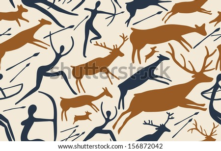 Pattern about hunting with primitive figures - stock photo