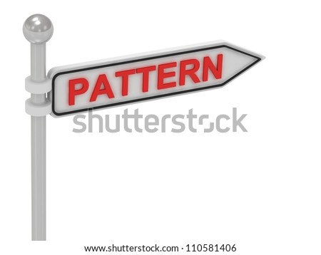 PATTERN arrow sign with letters on isolated white background