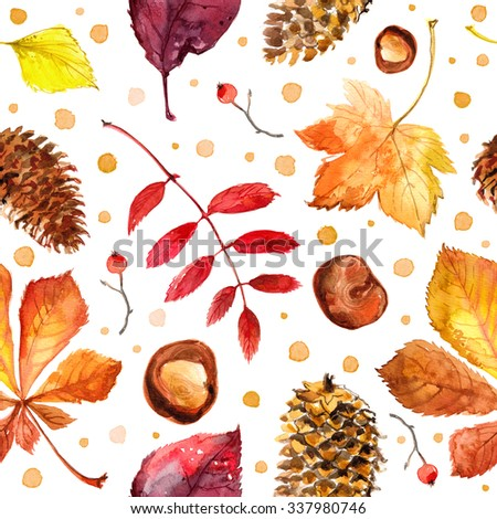 Pattern autumn leaves painted with watercolors on white background. Coloured bright leaves hand-painted, paint, taktura, watercolor. Maple leaves - stock photo