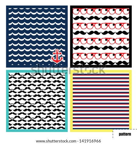 Pattern, background, texture with mustache and water anchor - stock photo