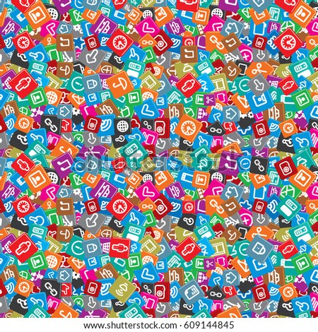 Pattern Background With Random Computer Icon Wallpaper Social Network Icons