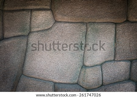 pattern brown color of modern style design real stone wall surface with cement for texture background - stock photo