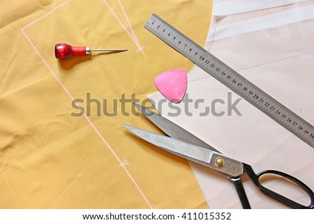 Pattern cutting tailoring background.