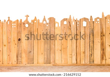 pattern detail of decorative fence wood texture - stock photo
