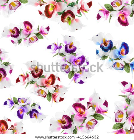 pattern Flower, orchid flower print in soft colors made from fabric - stock photo