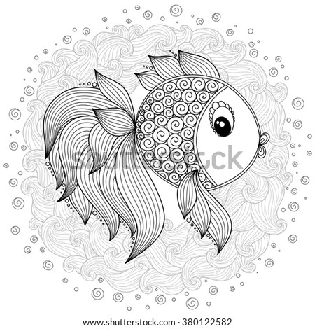 Pattern for coloring book. Coloring book pages for kids and adults. Raster Cute Cartoon Fish. Henna Mehndi Tattoo Style Doodles - stock photo