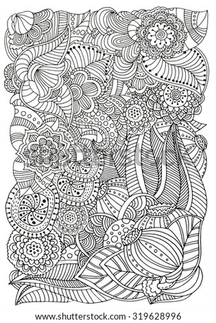 Pattern for coloring book.  Ethnic, floral, retro, doodle, tribal design element. Black and white  background. Zentangle patterns. A4 size.
