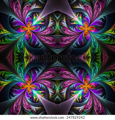 Pattern from four fractals  in black, blue and yellow. Computer generated graphics. - stock photo