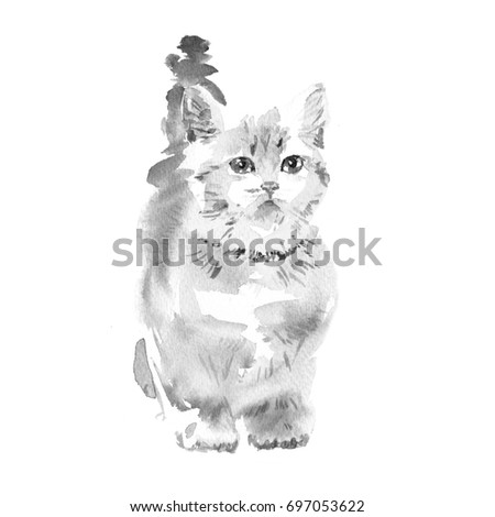 Pattern From Watercolor Black And White Cute Lovely Kitten Animal Painting Kids