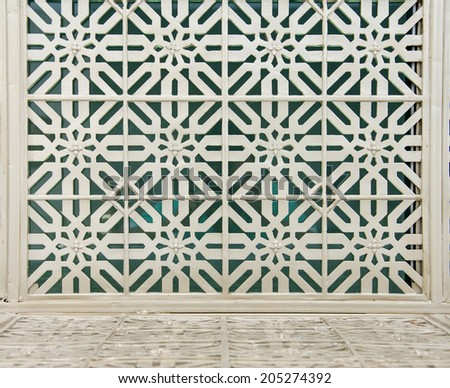 pattern of a wrought iron gate element. - stock photo