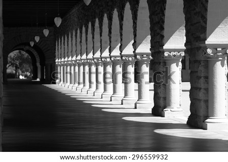 pattern of arches. Black and white