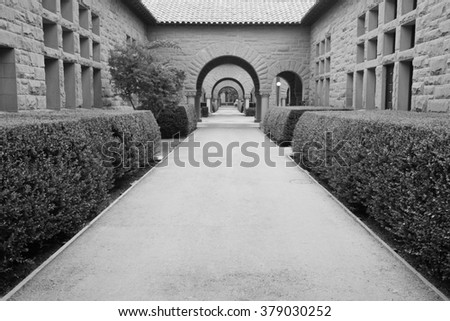 Pattern of arches. Black & White photography. - stock photo
