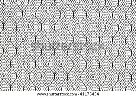 pattern of black lace fabric against white background - stock photo