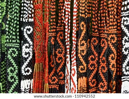 Pattern of Borneo Bead Crafts - stock photo