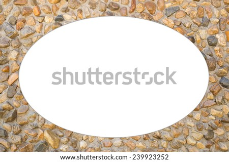 Pattern of decorative slate stone wall surface, oval frame photo, isolated  - stock photo