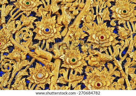Pattern of flower carved background - stock photo