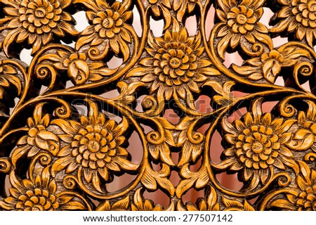 Pattern of flower carved on wood background,Carved wood - stock photo