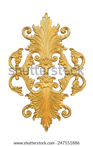 Pattern of gold metal frame carve flower Isolated on white background - stock photo