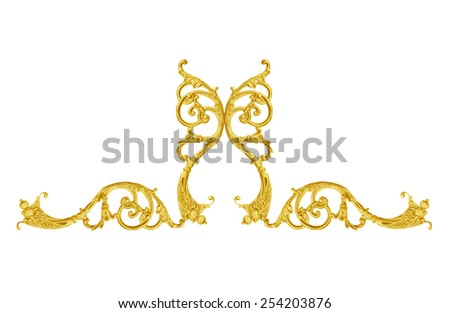 Pattern of gold metal frame carve flower on white background - stock photo