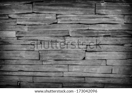 pattern of modern brick wall, slate stone wall surface and background texture - stock photo