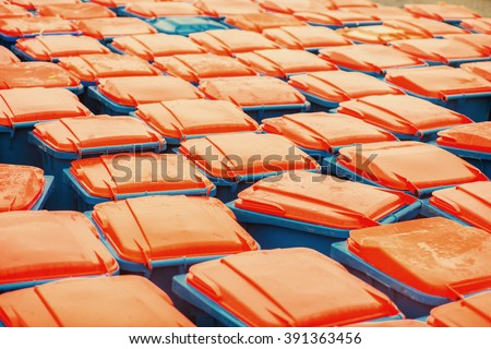 Pattern of plastic trash containers.  - stock photo