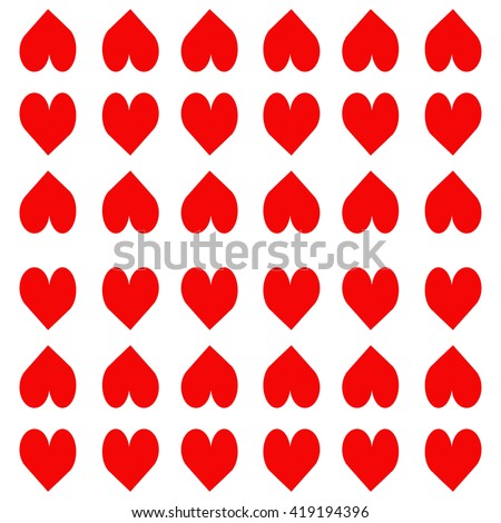 Pattern of red hearts on a white background, romantic