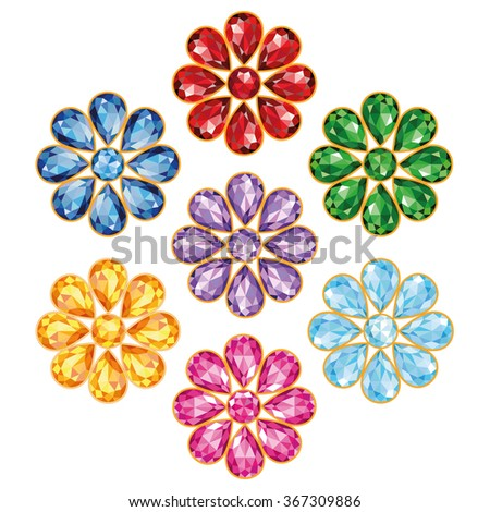 Pattern of seven flowers, composed of precious stones blue (sapphire), red (ruby), green (emerald), purple (amethyst), yellow (topaz, amber), blue and pink (diamonds).  Isolated Objects, illustration - stock photo