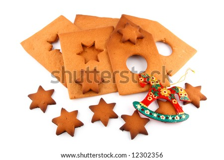 pattern of spice-cake house, sweet stars and red horse - stock photo