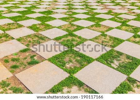 Pattern of Stone walkway In Garden  - stock photo