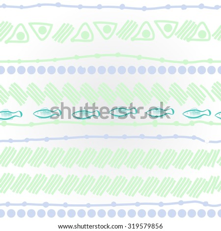 Pattern of striped motif, ellipses, stripes, fishes, doodles. Hand drawn.