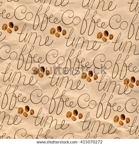 pattern of the words coffee time and coffee beans on a background of brown kraft wrapping paper