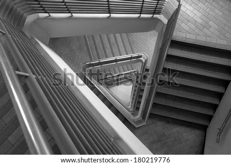 Pattern of triangle stair in black and white tone - stock photo
