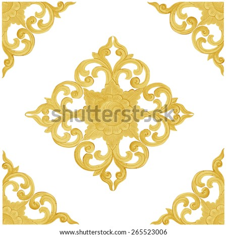 Pattern of wood carve gold paint for decoration on white background - stock photo