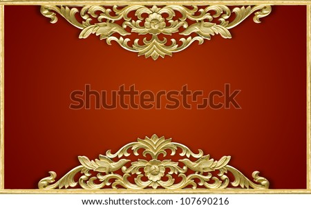 Pattern of wood frame carve flower - stock photo