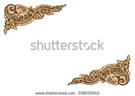 Pattern of wood frame carve flower on white - stock photo