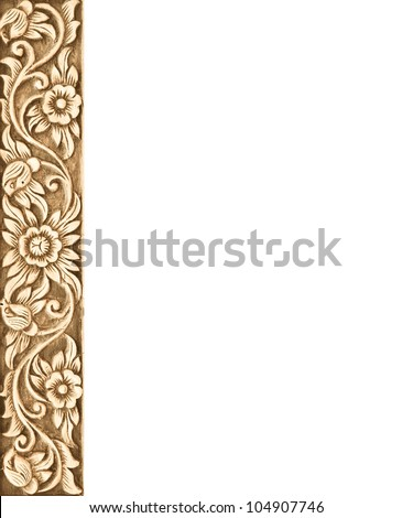 Pattern of wood frame carve flower on white background - stock photo