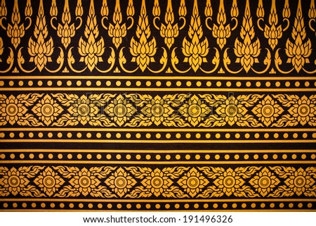pattern on the wall in thai temple - stock photo