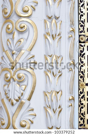 Pattern on the wall of Church of the Tithes in Kiev Pechersk Lavra in Kiev, Ukraine
